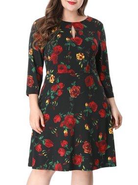 Women's A Line Long Sleeves Knee Length Floral Dress