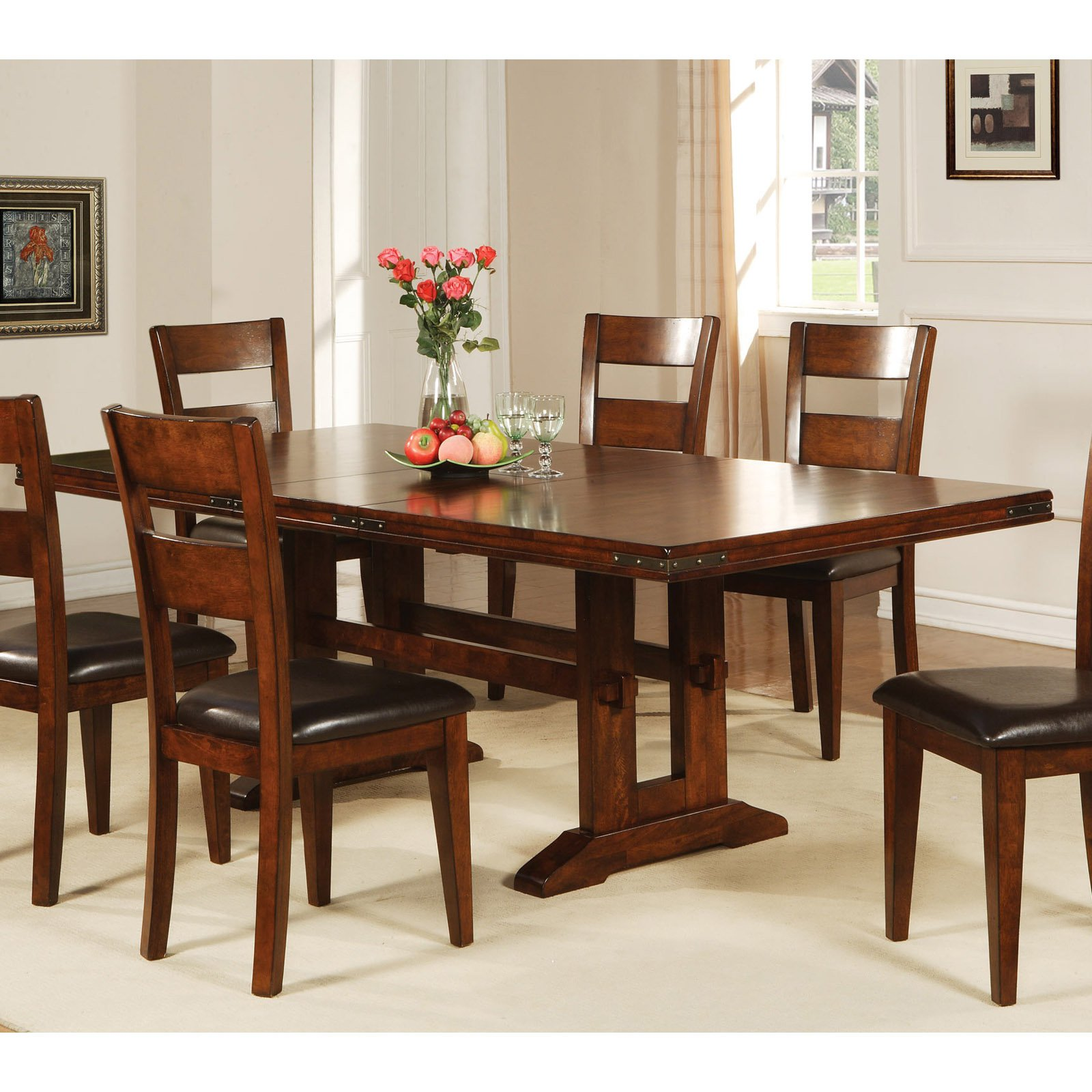 Winners Only Mango 74 in Trestle Dining Table with 18 in