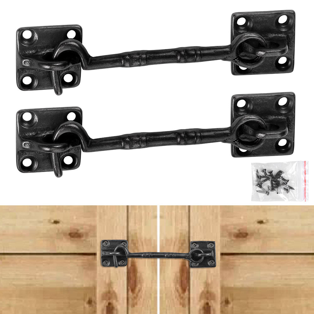 "Yescom 2 Pcs 4 1/2"" Sliding Barn Door Lock Latch Hook & Eye Cast Copper Hardware for Wood Doors Window Gate Cabinet"
