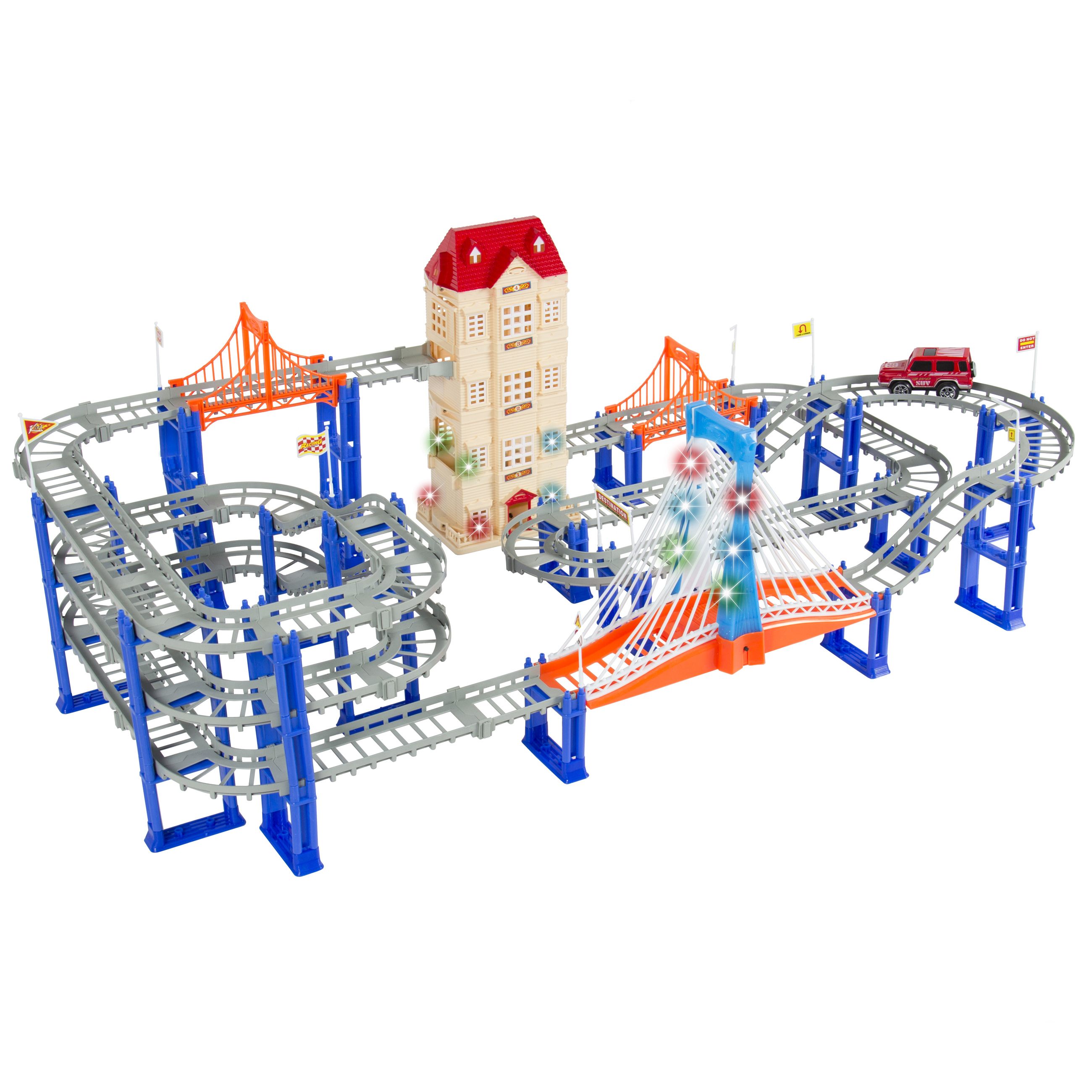 156pc Car Pretend Race Track Playset 3 Level Highway Tracks with Electric SUV Car, Lift Elevator, Music and Lights