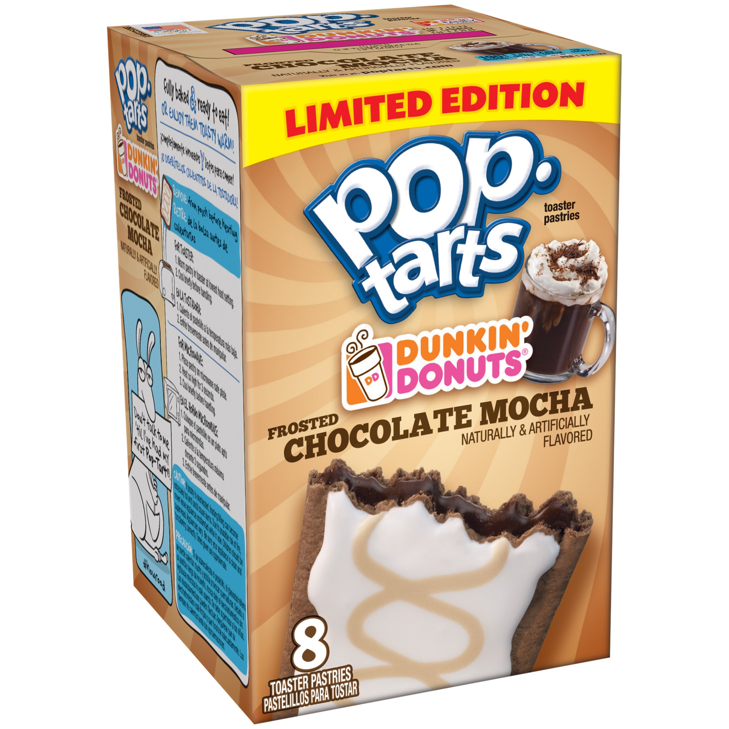 Kelloggs Pop-Tarts, Dunkin Donuts Frosted Chocolate Mocha, 8 Ct