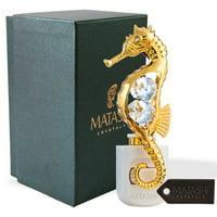 Matashi Crystal 24K Gold Plated Crystal Studded Sea Horse Multi-Colored LED Night Light