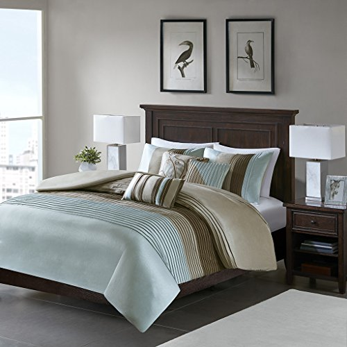 Madison Park Amherst Duvet Cover Fullqueen Size Blue Taupe Pieced Stripes Set 6 Piece Ultra Soft Microfiber Light Weight Bed Comforter