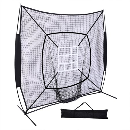 UBesGoo 7'x 7' Baseball & Softball Hitting, Pitching, Batting and Catching Net, With Carry Bag, Strike Zone Target, for Indoor & Outdoor Skill Training, Black ()