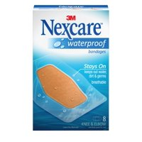 Nexcare Waterproof Clear Bandages for Knee and Elbow, Made by 3M, 8 Count