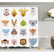 Cartoon Decor Shower Curtain Set Cartoon Comic Design Of Collection Of Smiling Animal Faces Visages