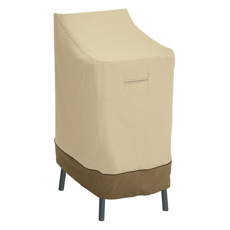 """Classic Accessories Veranda™ Patio Bar Stool Cover or Chair Cover - Water Resistant Outdoor Furniture Cover, 26""""L x 28""""D x 48""""H, Pebble"""