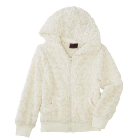 Girls Rule Ivory Plush Faux Fur Hoodie Jacket Coat - Faux Fur Coat Girls