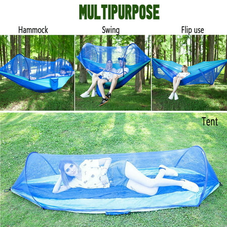 Capacity 440 lbs-Portable Camping Outdoor Double Person Tent Sleeping Hanging Hammock Bed With Mosquito Net Including Hooks,Rope,Storage Bag For Summer Hiking Travel