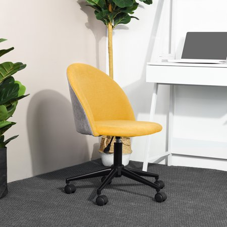 Mid-Back Swivel Computer Task Chair Adjustable Velvet Fabric Desk Office Chairs Yellow - image 8 de 8