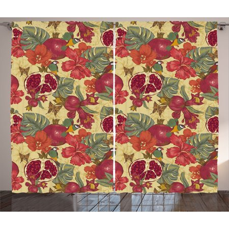 - Red Curtains 2 Panels Set, Natural Tropical and Exotic Birds Butterflies Flowers and Pomegranate Illustration, Window Drapes for Living Room Bedroom, 108W X 63L Inches, Red and Beige, by Ambesonne