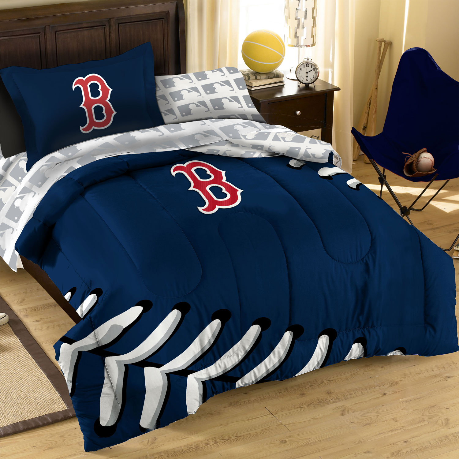 3pc MLB Boston Red Sox Baseball Twin Full Bed Comforter Set