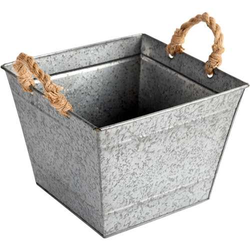 Better Homes and Gardens Medium Square Tapered Galvanized Bin, Silver