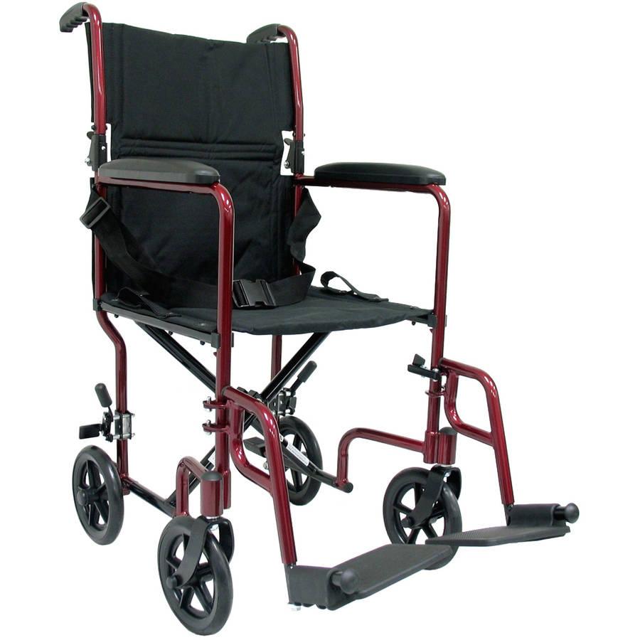 Karman LT-2019 19 pounds Aluminum Lightweight Transport Chair,  Burgundy