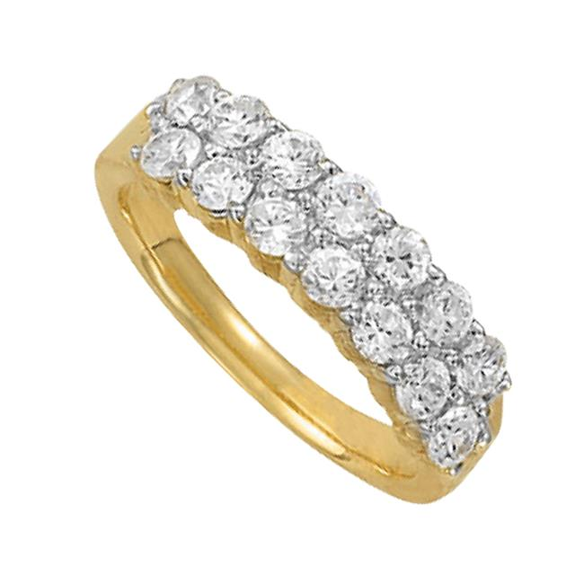 Fine Jewelry Vault UBNR83779Y14CZ10 Chic CZ Cluster Ring in 14K Yellow Gold, 14 Stones