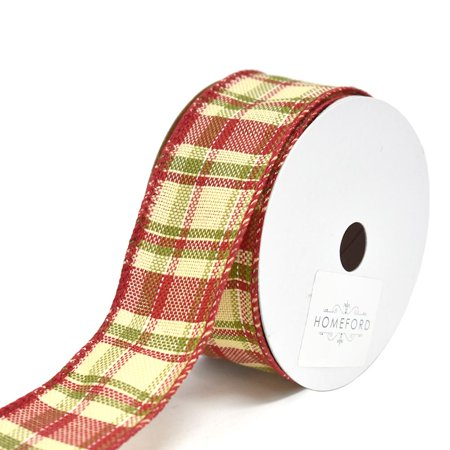 Vintage Hopsack Plaid Wired Christmas Ribbon, 1-1/2-Inch, - Vintage Ribbon