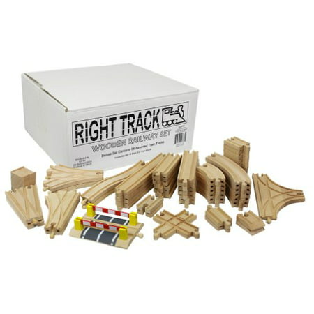 Deluxe Wooden Train Set - Wooden Train Track Deluxe Set: 56 Assorted Premium Pieces By Right Track Toys - 100% Compatible with All Major Brands including Thomas Wooden Railway System - All Tracks and No Fillers