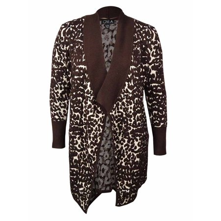ONE A Women's Open-Front Animal Waterfall Cardigan (L/XL, Brown)