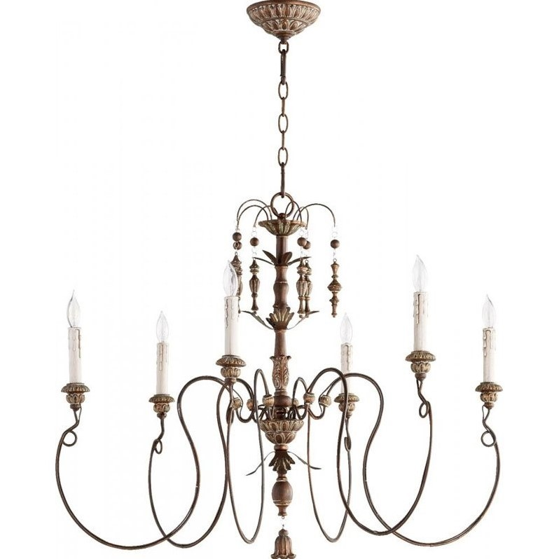 Quorum Salento 6 Light Chandelier in Vintage Copper