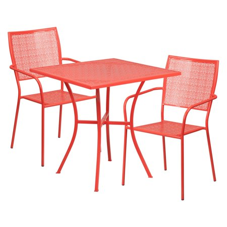 Flash Square Outdoor Steel Patio Table Square Back Chairs Multiple