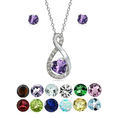 - Sterling Silver Birthstone Gemstone Infinity Heart Necklace Earrings Set