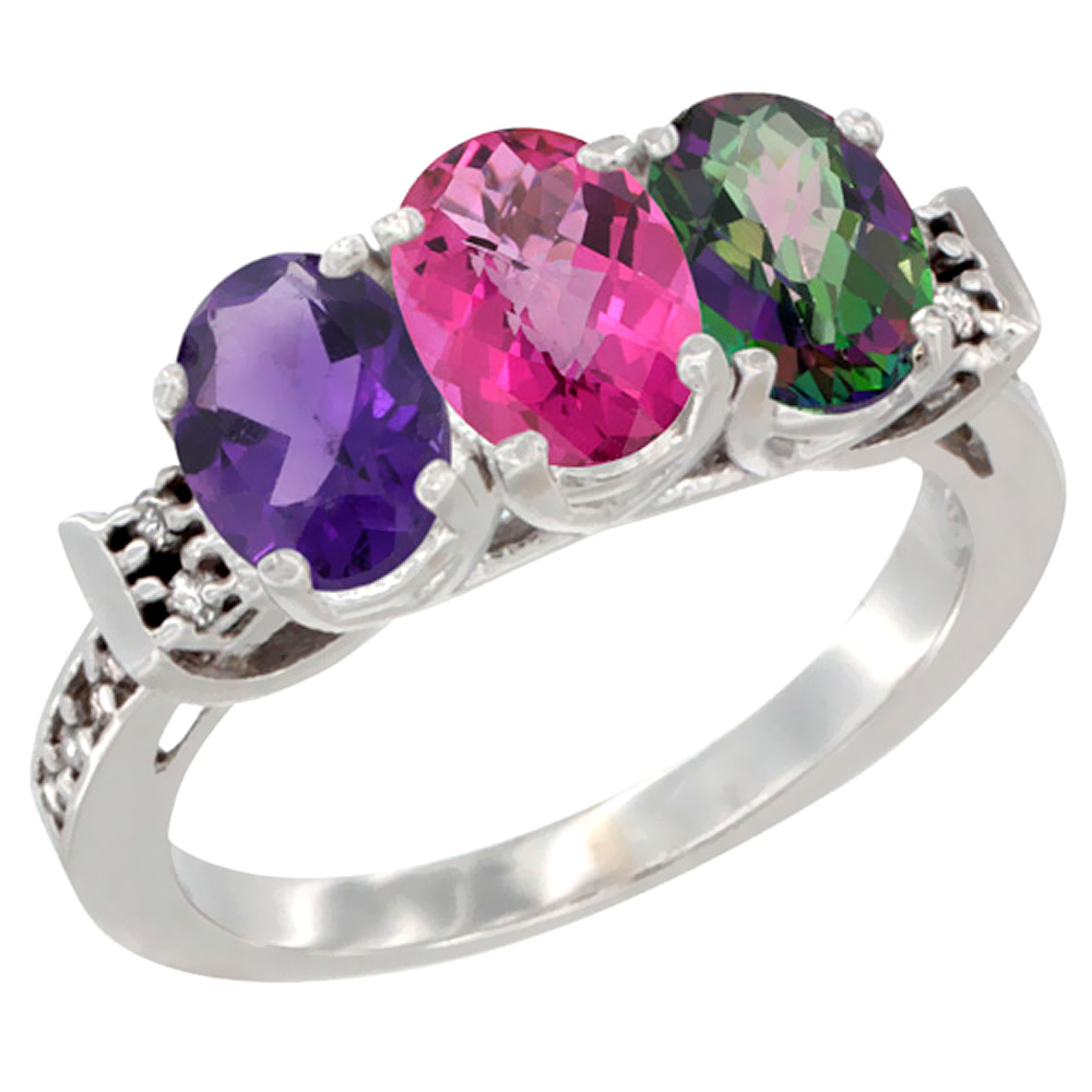 10K White Gold Natural Amethyst, Pink Topaz & Mystic Topaz Ring 3-Stone Oval 7x5 mm Diamond Accent, sizes 5 10 by WorldJewels
