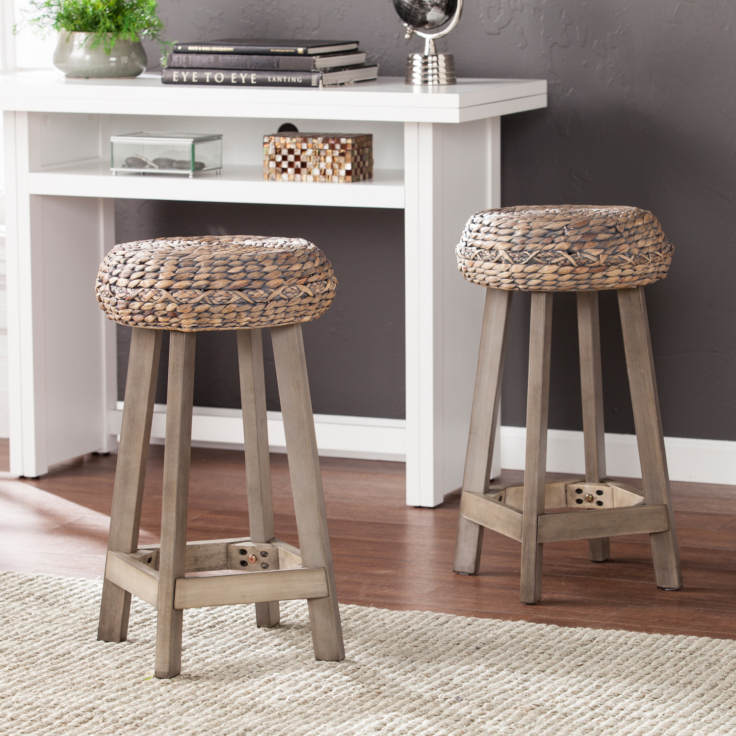 Incredible Details About Backless Round Stool Chair Water Hyacinth Kitchen Decor Weathered Gray 24 2Pc Ncnpc Chair Design For Home Ncnpcorg
