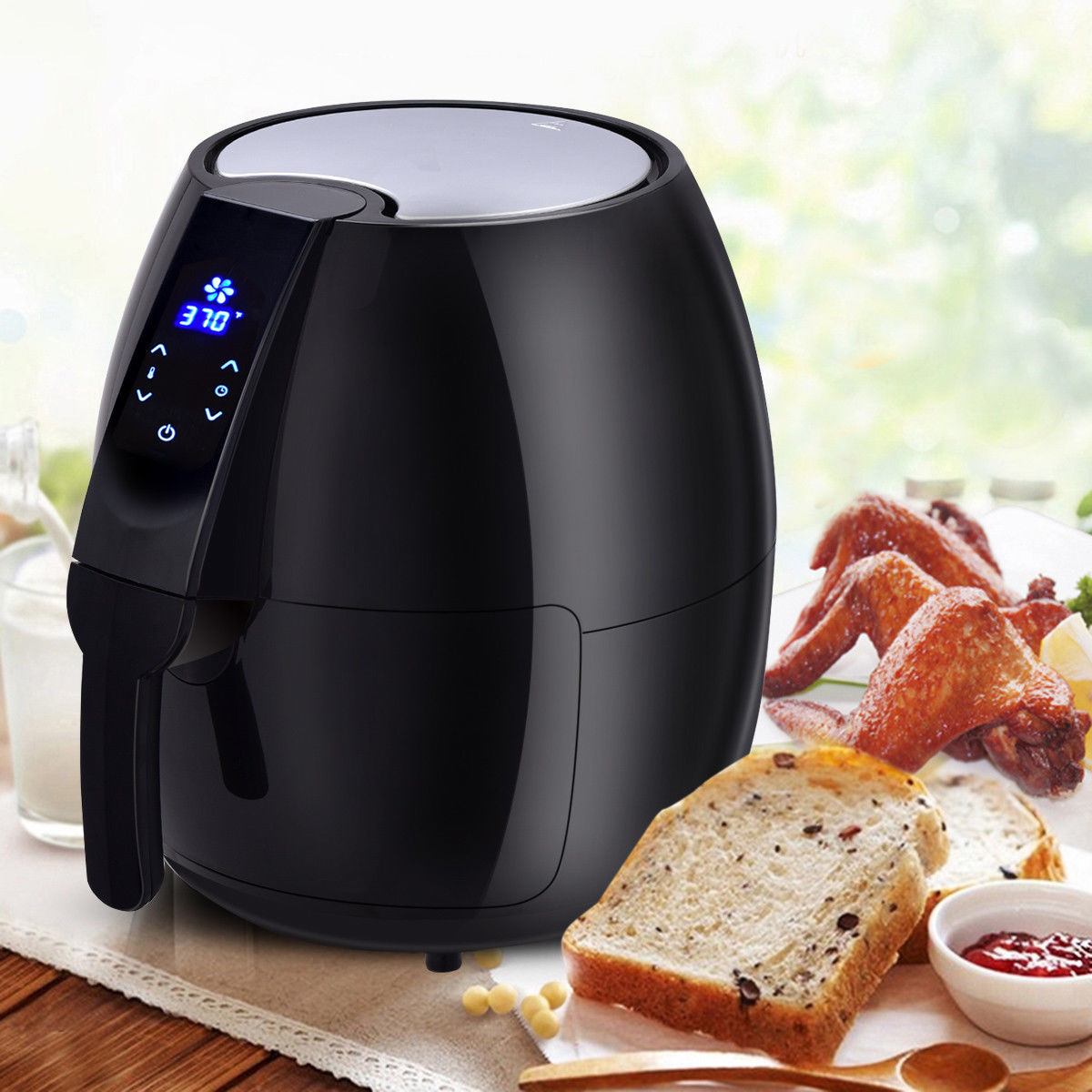 Costway 1500W Electric Air Fryer 4.8 Quart Touch LCD Screen Black/ White