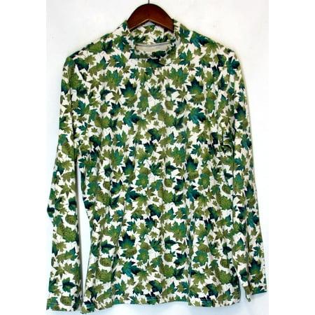 Denim & Co. Size L Long Sleeve Mock Neck Leaf Print Top Green A216541