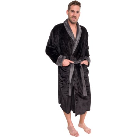 Mens Two Tone Plush Shawl Collar Kimono Bathrobe Robe