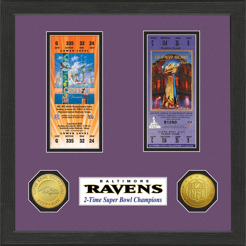 Baltimore Ravens Super Bowl Ticket Collection Plaque