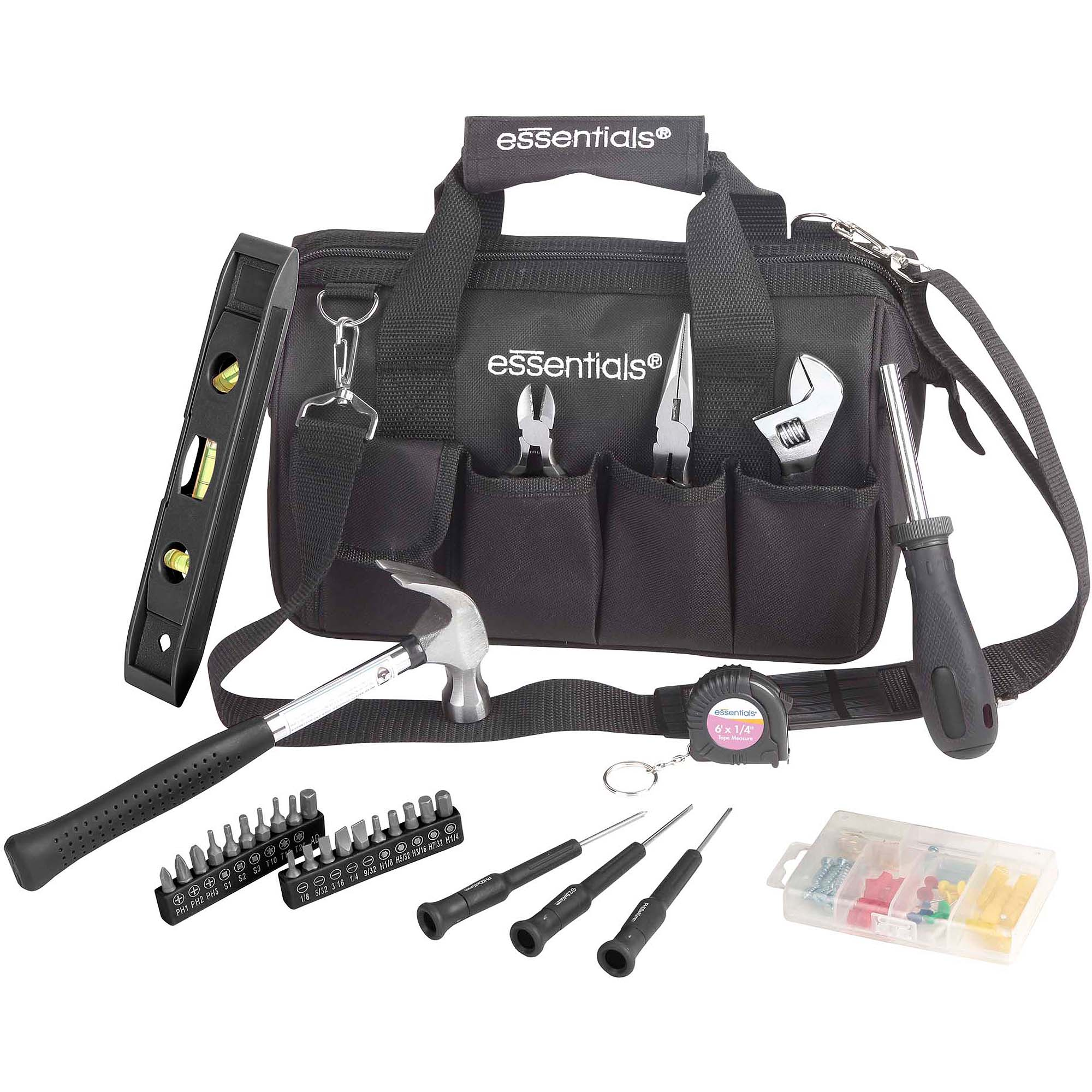 Essentials Tool Set with Zip-Up Bag, 32-Piece, Black