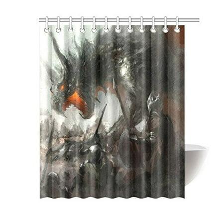 MKHERT Knights Hunting Dragon Polyester Fabric Bathroom Shower Curtain 60x72 Inch