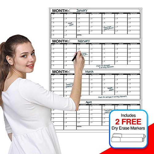 "Business Basics EXTRA LARGE Dry Erase Vertical 4 Month 36"" x 48"" in Wall Calendar Laminated Dry or Wet Erase Print Squares to Plan Your Whole Day Perfect for School Office Cubicle Home College Dorms"