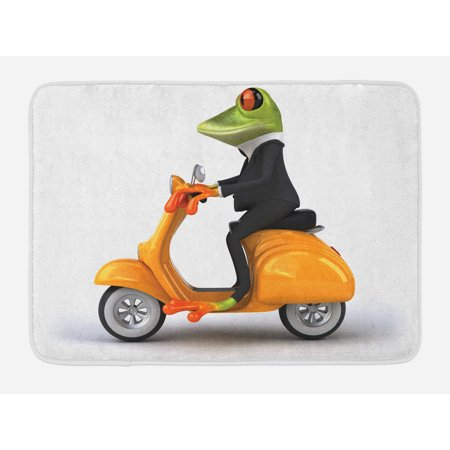 Animal Bath Mat, Serious Italian Stylish Frog Riding Motorcycle Fun Nature Graphic Urban Art, Non-Slip Plush Mat Bathroom Kitchen Laundry Room Decor, 29.5 X 17.5 Inches, Green Black Orange, Ambesonne