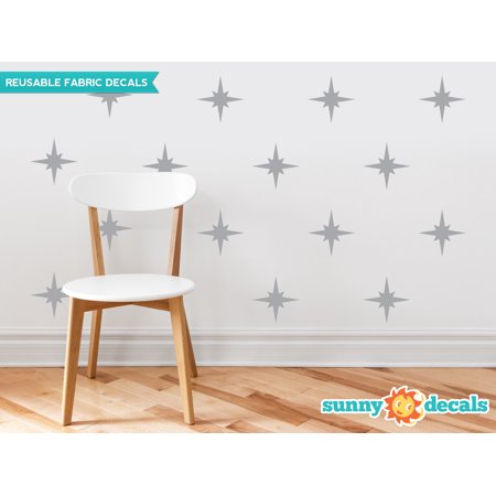 Retro Stars Fabric Wall Decals, Set of 22 Mid Century Modern Stars, Star Pattern - 19 Color Options-Grey/