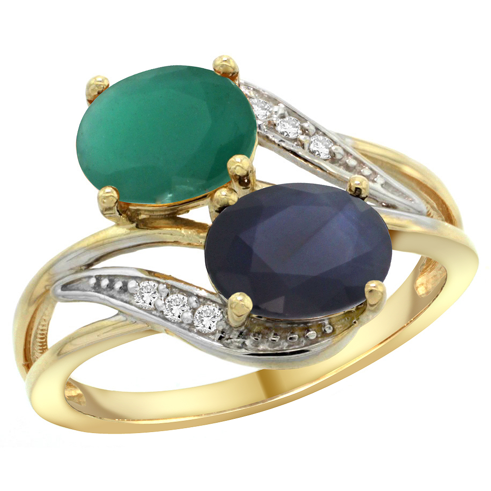 14K Yellow Gold Diamond Natural HQ Emerald & Blue Sapphire 2-stone Ring Oval 8x6mm, size 5 by Gabriella Gold
