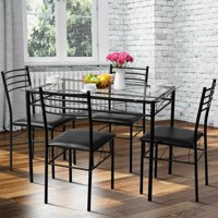 Gymax 5 PC Dining Set Glass Top Table and 4 Chairs