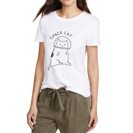 ZXZY Women Short Sleeve Space Cat Tops Round Neck Casual Top Shirt