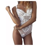 FINELOOK Womens Stretch Sleeveless Lingerie Lace Leotard Backless