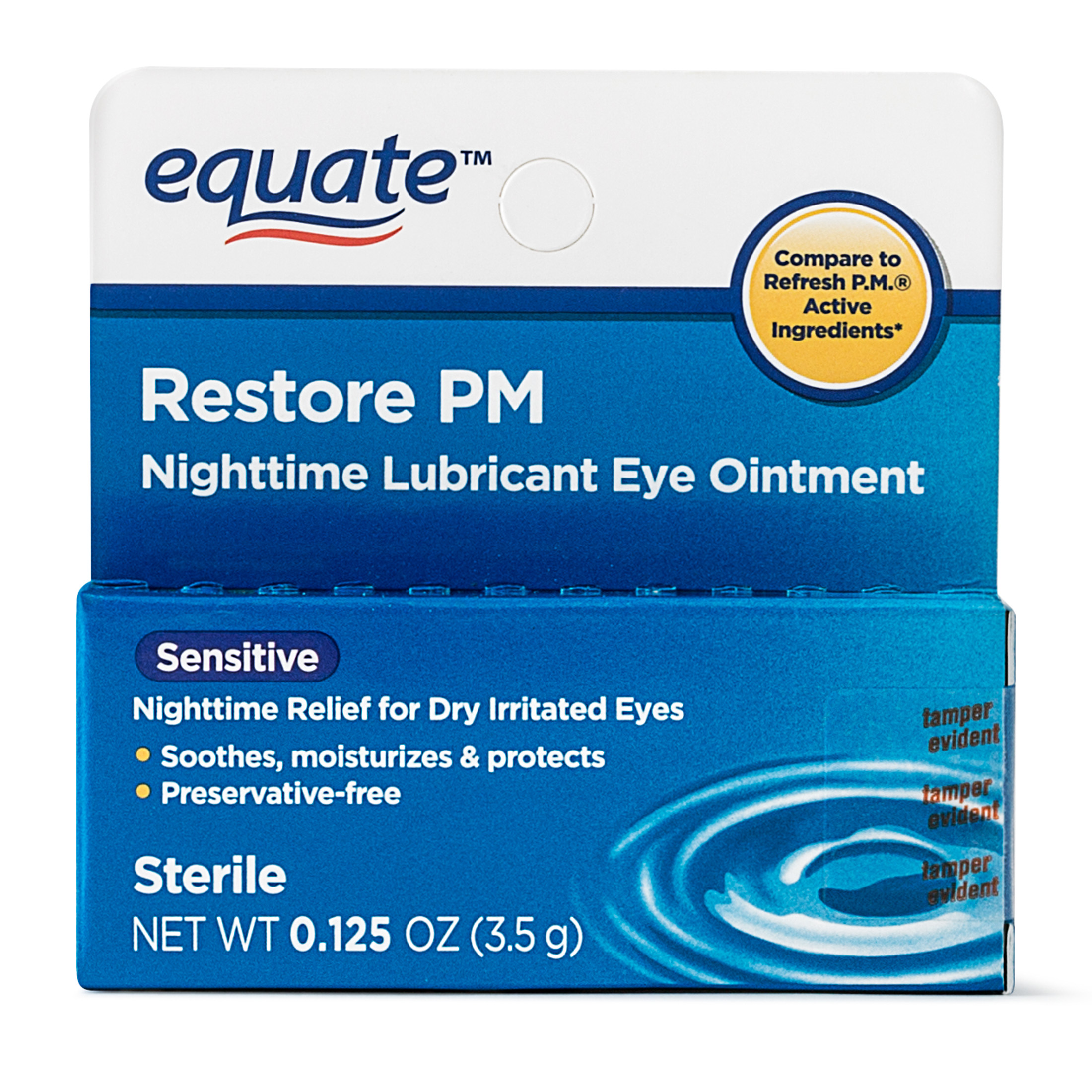 Equate Sensitive Nighttime Lubricant Eye Ointment, 0.125 Oz