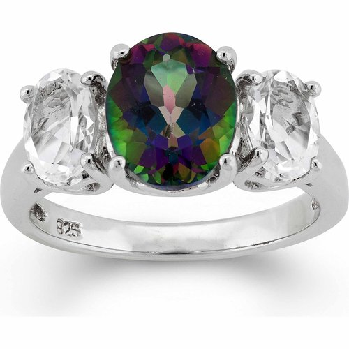 .20 Carat T.G.W. Mystic Green Topaz and White Topaz Sterling Silver Oval Ring
