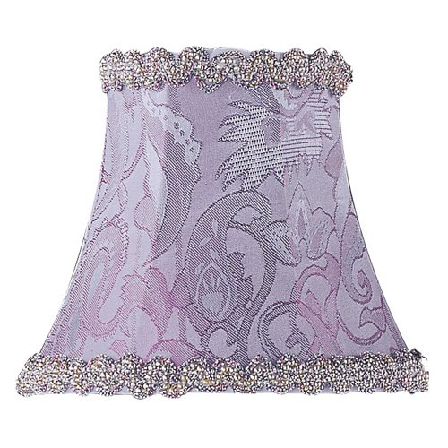 Livex S268 Periwinkle Damask Silk Bell Clip Chandelier Shade with Fancy Trim