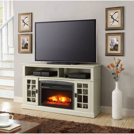 Better homes and gardens mission media fireplace console for tvs up to 65 antique white for Better homes and gardens fireplace tv stand