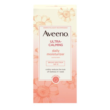 Aveeno Ultra-Calming Daily Facial Moisturizer with SPF 15, 4 fl. (Best Sunscreen To Use Under Makeup)