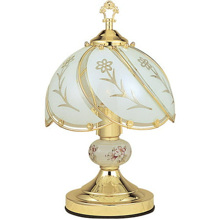 Ok Lighting 14 25  Goldtouch Lamp With White Glass Floral Theme