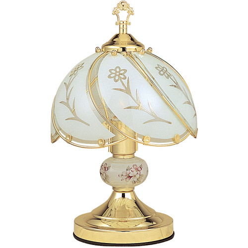 "OK Lighting 14.25"" GoldTouch Lamp With White Glass Floral Theme"