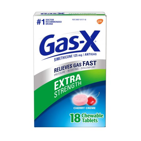 Gas-X Extra Strength Gas Relief Chewable Tablets, Cherry Creme, 18 Count Chewable Cherry 30 Tabs