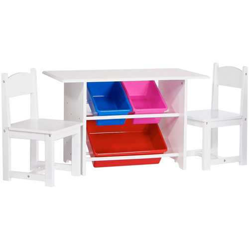 RiverRidge Kids - Activity Table and Chair Set with Storage Bins