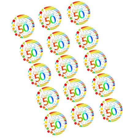 CakeSupplyShop Item#RE-051 Happy 50th Birthday 2inch Rainbow Edible Cupcake / Cookie Frosting Image Toppers -12ct